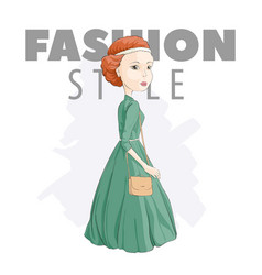 Fashionable girl in a green dress vector