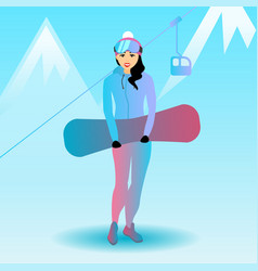 female snowboard character vector image vector image