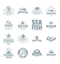 fish sea logo icons set simple style vector image vector image