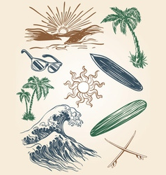 hand drawn beach and surf set vector image vector image