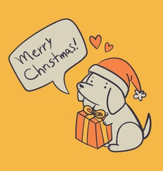 Hand drawn dog holding a present and wishing a mer vector