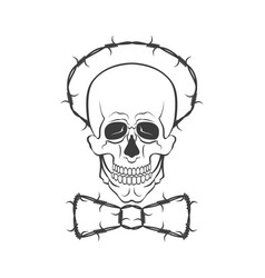 Hand drawn skull with barbed wire vector