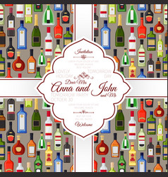 invitation card with alcohol bottles pattern vector image vector image