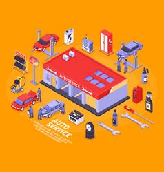 Isometric auto service concept vector