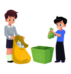 Kids boys collect plastic bottles into garbage vector