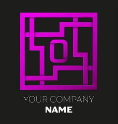 Letter o symbol in colorful square maze vector