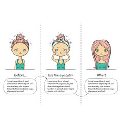 Make-up three steps instruction girl vector