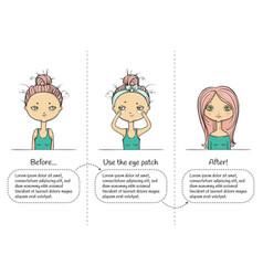 Make-up three steps instruction girl vector