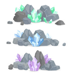 Natural crystals clusters in solid stones set vector