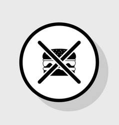 No burger sign flat black icon in white vector