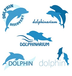 set of dolphinarium design of logo with dolphins vector image