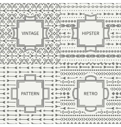 Set of hand drawn line ink geometric ethnic vector image vector image