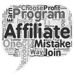 The Most Common Affiliate Mistakes text background vector image