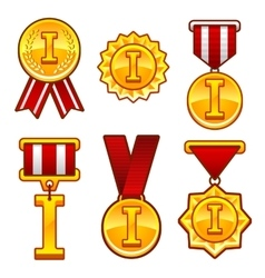 Trophy awards flat medal first place badge vector image vector image