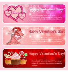 Valentine horizontal banners vector image vector image