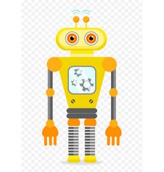 yellow cheerful cartoon robot character vector image vector image