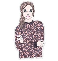 Young girl with animal print jumper vector image vector image