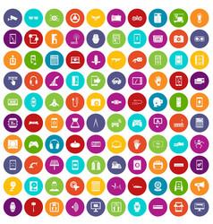 100 adjustment icons set color vector
