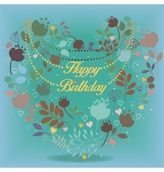 Happy birthday card with floral heart vector