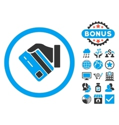 Card payment flat icon with bonus vector