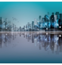 Modern night city with reflection on water vector