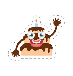 Cartoon chocolate cake party cut line vector