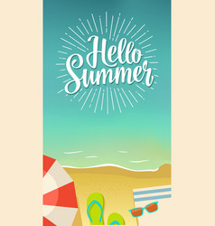 Hello summer hand drawn lettering with rays on vector