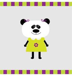 Cartoon panda girl card vector image