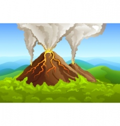 Fuming volcano vector