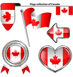 Glossy icons with canadian flag vector