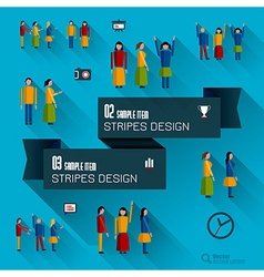 Set of icons and people vector