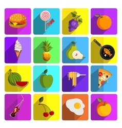 Modern food and vegetables icon set vector image