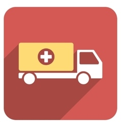 Drugs shipment flat rounded square icon with long vector