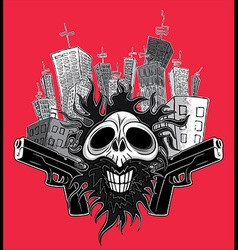Smiling skull guns panel city background vector