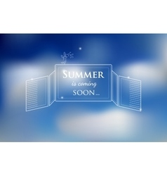 blured background with sky and text about summer vector image