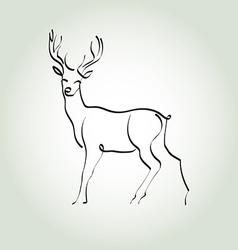 Deer in a minimal line style vector image