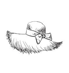 Hand drawn straw hat fashion vector