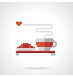 Breakfast for lovers flat color icon vector image