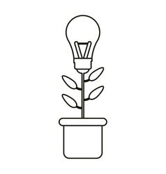 Bulb idea plant pot ecology outline vector