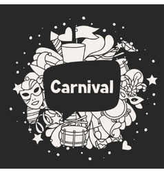 Carnival show background with doodle icons and vector image vector image