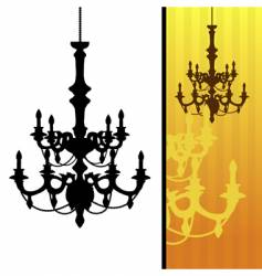 chandelier on yellow striped background vector image