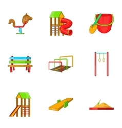 Children rides icons set cartoon style vector