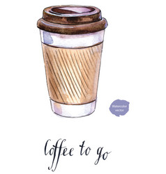 coffee in blank craft take away cup vector image vector image