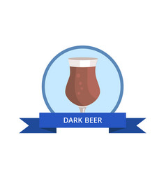 Dark beer in tulip shape glass logo design vector