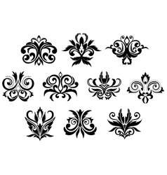 Decorative black gothic flowers set vector image vector image