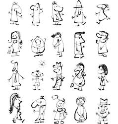 doodle people set vector image
