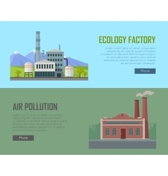 Ecology factory and air pollution banners vector