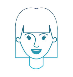 Female face with mushroom hairstyle in degraded vector
