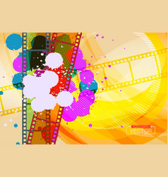 Grunge colorful ink splatter on film scene vector