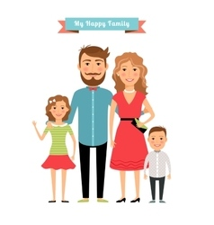 Happy family parents and kids vector